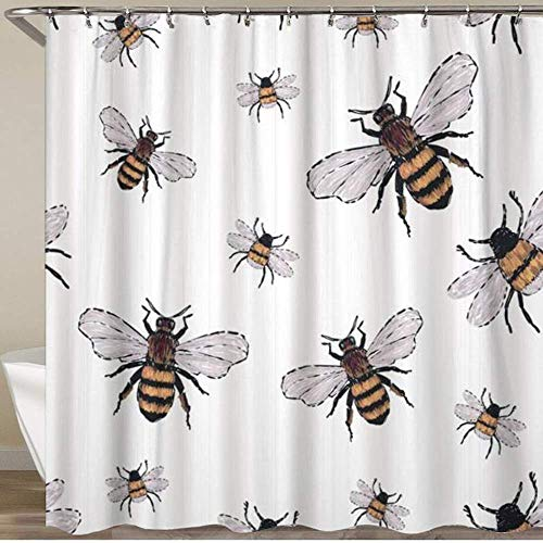 Shower Curtain,Watercolor Bumble Big Honey Bee and Small Funny Patch with Insects Trendy Traditional On White Black,Polyester Fabric Waterproof Bath Curtains Hooks Included - 72 X 72 Inches