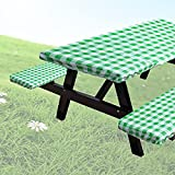 JK-GMTE Buffalo Plaid Picnic Table and Bench Covers Vinyl Gingham Pattern Outdoor Fitted Tablecloth Heavty Duty Checked Elastic Stretch Picnic Table Cover with Seat Cover for Patio Park, 3Pc Set Green