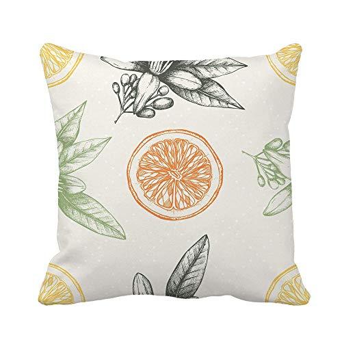 N\A Throw Pillow Cover Ink Orange Fruit Flowers and Leaves Sketch Vintage Citrus Funda de Almohada Decorativa para el hogar Funda de Almohada Cuadrada Funda de cojín