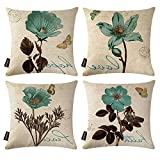 Ussuperstar Set of 4 Throw Pillow Covers Decorative Boho Cushion Cover Throw Floral Printed Pillow Case 18 X 18 Inch Pillowcase Multicolor