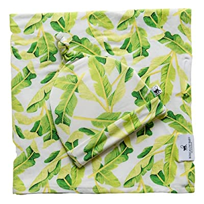 Bungalow Baby Swaddle Set - Premium Bamboo Viscose Baby Swaddle Blanket & Hat Set, Baby Boy, Baby Girl, Unisex, Newborn Swaddle, Baby Wrap, Bamboo Blanket (Banana Leaf (Limeade)