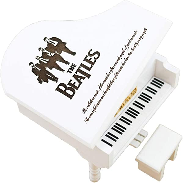 The Beatles Music Box Windup Engraved Wood Piano Musical Box Musical Gift Play Let It Be White