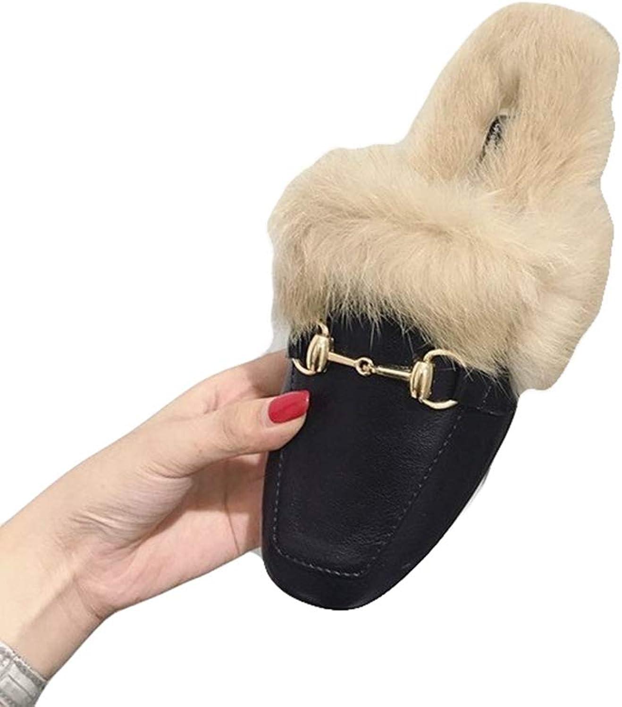 August Jim Women's Winter Flats shoes,Warm Fur Wool Slipper Casual Winter Slouch Flat shoes
