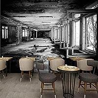 Djskhf ヴィンテージ壁紙現代人格工場黒と白の落書き壁画壁紙3Dレストランカフェ壁画 400X280Cm