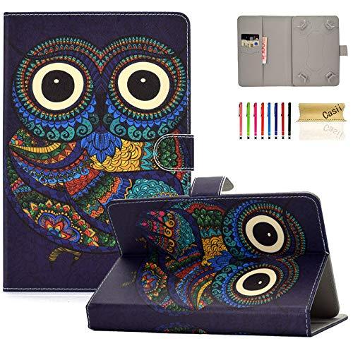 Casii - Funda para Tablet de 6,5-7,5 Pulgadas (Piel sintética, función Atril, función Atril) 03-Purple Owl For 9.5-10.5 Inch Tablet