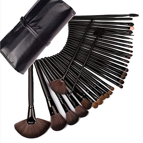 JUZEN Maquillage Pinceau Ensemble Mode correcteur Fondation mélange Fard à Joues Ombre à paupières Douce et Confortable cruauté Fibre synthétique Brosse Noir, 32pcs