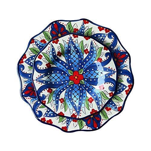 ZJN-JN Las placas Platos, vajilla de cerámica, filete placas, la placa de cerámica vajilla de Bohemia Europea Plato Plato étnico plato grande occidental del plato placa de la fruta del cordón del esti