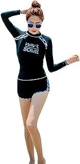 S.CHARMA 2019新しい水着女性水着ファッション水着スーツ女性保守的なワンピース長袖日焼け止め水着セクシーな人気の水着温泉水着サーフ服 ツーピース水着
