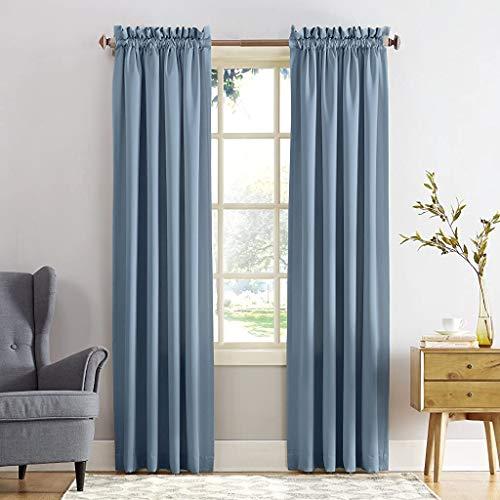 Sun Zero 53223 Barrow Energy Efficient Rod Pocket Curtain Panel, 54u0022 x 95u0022, Vintage Blue, One Panel