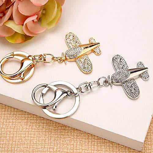 Sinzong Sleutelhanger, met diamant bezette strassteen, kleine vliegtuigautosleutelhanger, vrouwelijk, metalen tashanger, sleutelhanger, 2 stuks