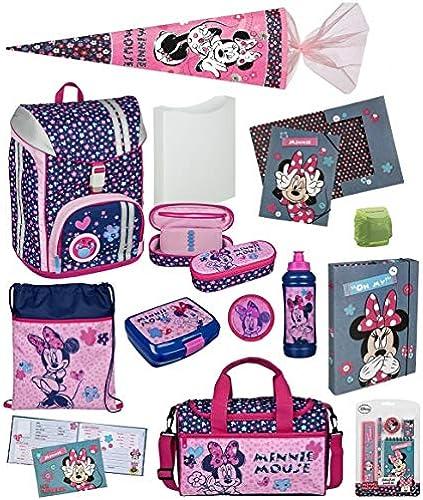 Familando Scooli Schulranzen-Set Disney Minnie Maus 16-TLG. mit Brotzeit-Dose, Trink-Flasche, Sporttasche, Schultüte 85cm und Regenschutz; Flexmax MIHL7552