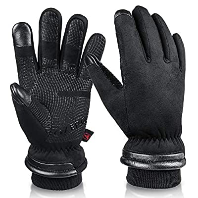 OZERO Winter Thermal Gloves for Men Waterproof and Touch Screen Fingers Insulated Cotton Warm in Cold Weather Black Medium from SHENZHEN HONGFUYA TRADE Co.,Ltd