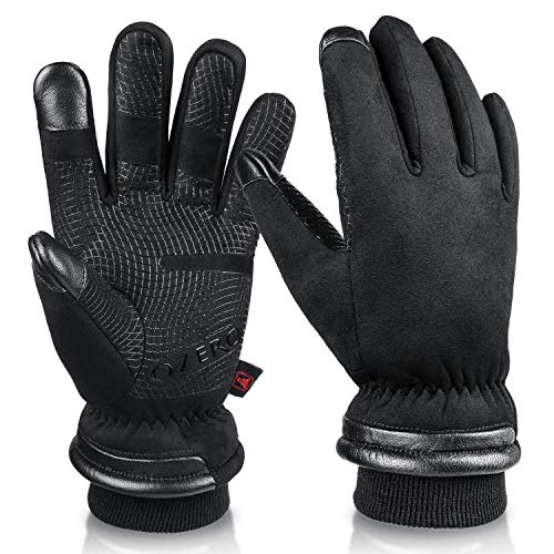 Winter Gloves for Men Waterproof and Touch Screen Fingers Insulated Cotton Warm in Cold Weather Black Large