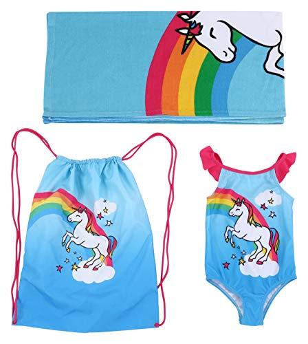 Dreamwave muchachas unicornio swim esencial - toalla de playa y bolsa del juego de nadada del traje de baño de una pieza del traje de baño 2t