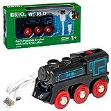 Brio World - 33599 - Locomotive Rechargeable - Train électrique et lumineux avec cable USB - Pour circuit de train en bois - Jouet pour garçons et filles dès 3 ans