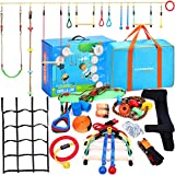 Hyponix 60' Ninja Warrior Obstacle Course for Kids - 13 Obstacles - Ninja Slackline - Kids Obstacle Course - Ninja Course for Kids Outside - Ninja Kids - Slackline Obstacle Course - Ninja Slack Line