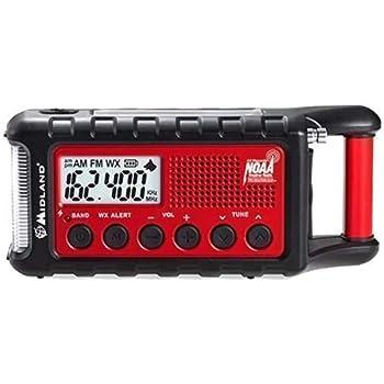 Midland - ER310, Emergency Crank Weather AM/FM Radio - Multiple Power Sources, SOS Emergency Flashlight, Ultrasonic Dog Whistle, NOAA Weather Scan + Alert (Red/Black)
