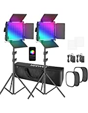 Neewer 2 stuks 530 PRO RGB LED-videolampen met app-besturing, softbox kit, 360 graden volledige kleur, 45 W videoverlichting CRI 97+ voor games, streaming, zoom, YouTube, Webex, radio, webconferentie, fotografie