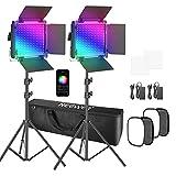 Neewer 2 Paquetes de luz de Video LED 530 Pro RGB con Kit de Caja de luz Control de aplicación 360° a Todo Color luz de Video de 45W CRI97+ para Juegos Youtube Webex Conferencia Web fotografía etc.