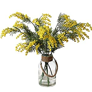 "35"" Artificial Yellow Mimosa Flowers Spray Branch Fake Acacia Beans for Wedding Home Table Decoration, 3 Pack"