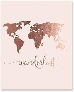 Wanderlust World Map Rose Gold Foil Pink Art Print Travel World Traveler Pink Poster Modern Art Contemporary Metallic Wall Decor 5 inches x 7 inches A4