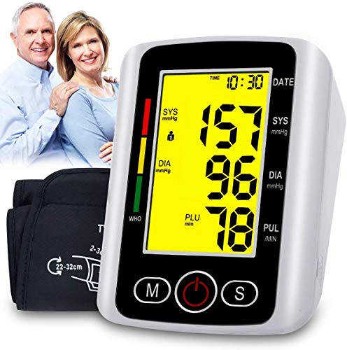 VERYCOZY Blood Pressure Monitor Upper Arm, Automatic Digital Bp Monitor with Cuff 22-32cm, 2x99 Memory, Large Screen, Blood Pressure Machine Pulse Rate Monitor for 2 User Home Personal Use