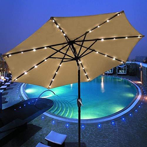N/Z Inicio Equipos Sombrillas Sombrilla con luz Solar Market Patio Sombrillas LED para Exteriores Sombrilla LED para jardín con Carga automática 3 M (Color: Color café)