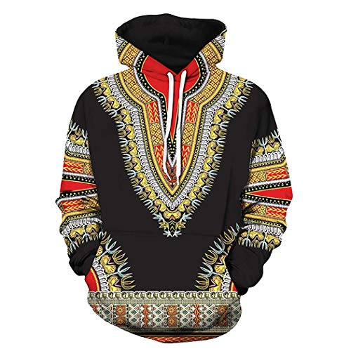 Unisex African Print Dashiki Long Sleeve Fashion Hoodies Sweatshirts with Pocket for Men Women Boys Girls (Black, L)