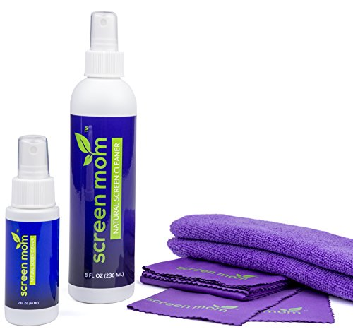 Screen Mom Screen Cleaner Home & Away Bundle – Designed for LED, LCD, Plasma, TV, iPad, Laptop, Computer Monitor, Tablets, Phones, & Eyeglasses - Includes 8oz & 2oz Bottle with 4 Microfiber Cloths