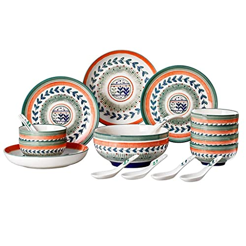 CCAN Juegos de vajilla de cerámica, Plato/Cuenco/Plato | Juego de combinación de Porcelana de vajilla con patrón de Hojas de Estilo Americano de 18 Piezas - Restaurante de Fiesta Familiar