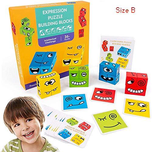 SDERS Thinking Training Gesichtsveränderndes Puzzle , Bauen von Würfeln Interaktion Spielzeug Holzblöcke, geometrisches Kartenspiel für Eltern-Kind-Vorschule (Größe B.)