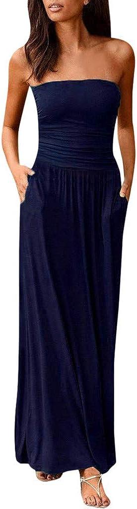 OVERMAL Women's Summer Dress Casual Tie Waist with Pockets Tube Top Slim Swing Dress Dress Breathable Gauze Skirt Beach Dress
