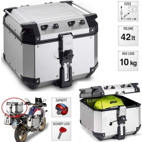 Koffer koffer Masssimo 10 kg GIVI OBKN42A 42 LT TREKKER OUTBACK koffer MONOKEY van natuurlijk aluminium TOP CASE MET RAPIDA 323 x 454 x 409 MM