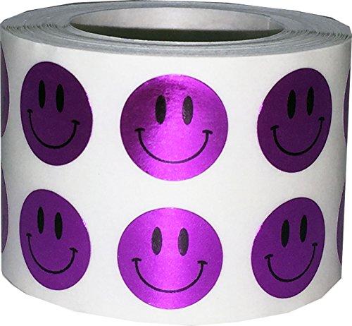 Happy Face Stickers Metallic Purple Happy Face...