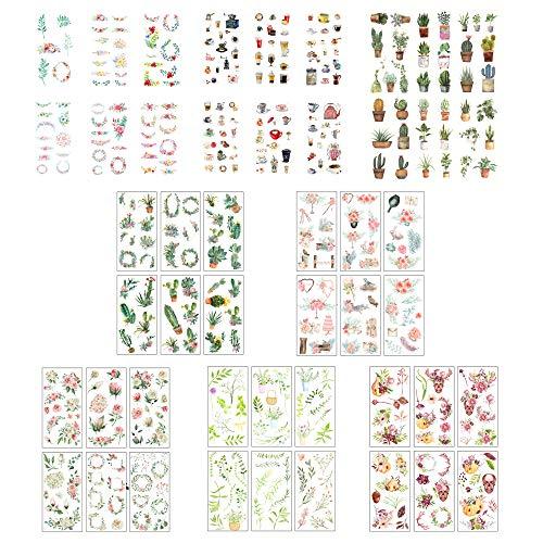 48 Hojas Pegatinas,Pegatina de Planta Natural, Animal, Cielo Estrellado.DIY Manualidades Decoración Scrapbooking Álbumes de Recortes Calendarios Tarjetas de Felicitación Regalos