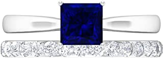 Anillo solitario de corte princesa de 5,5 mm, D-VSSI Moissanita Eternity, anillo de oro blanco de 14 quilates