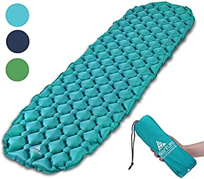 HIKENTURE Backpacking Sleeping Pad Ultralight Camping Pad,Upgraded Wavy Design Air Support Sleeping Mat, Compact Lightweight for Sleeping Bag,Car,Outdoor,Camp,Hammock (Blue)
