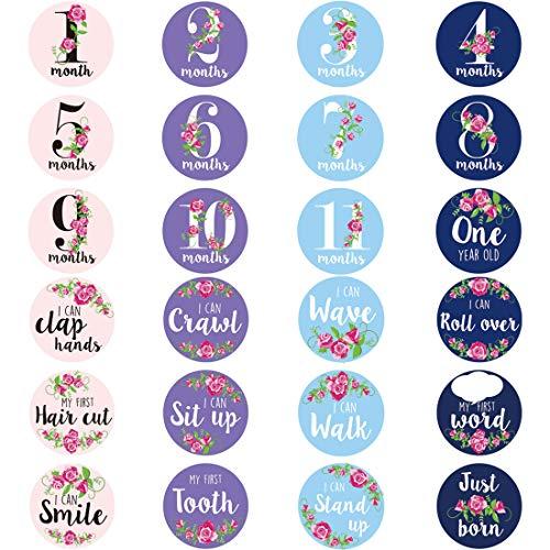 Mr-Label Stickers Mensuels Bébé - Mensuel Milestone Stickers - Stickers de vacances enfant unisexe - Autocollants d'accomplissement mensuel pour bébé de 1 à 12 mois (24 Pièces)