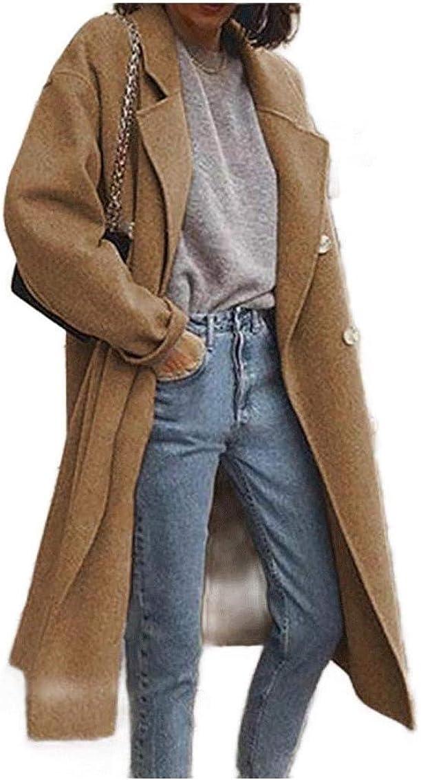 Womens Pea Coat Fall Winter Double Breasted Plus-Size Woolen Coat