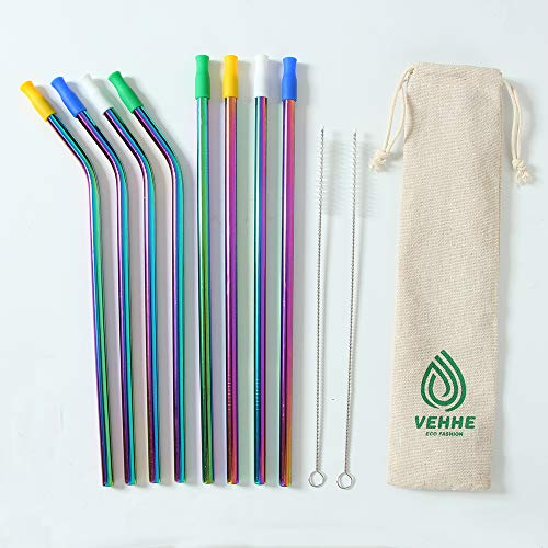VEHHE 8 Set Reusable Straws Drinking, Smoothie Straws, Stainless Steel Straws with Silicone Tips, Rainbow Metal Straws Extra Long 265/8mm Wide Straws for 20/30 oz Tumbler Yeti, 2 Cleaning Brush