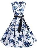 Bridesmay Vestido de Cóctel Fiesta Mujer Verano Años 50 Vintage Rockabilly Sin Mangas Pin Up White Blue Flower 3XL
