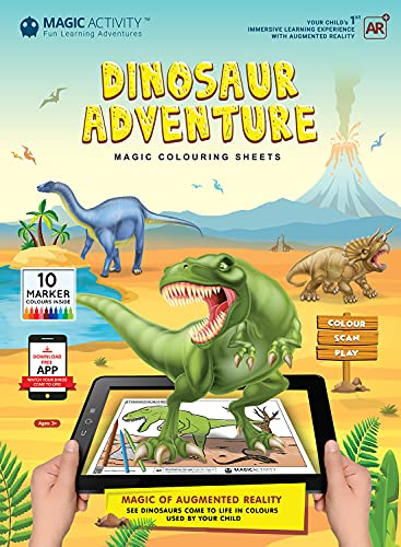 Dinosaur Adventure Augmented Reality Coloring Book w/ Educational Learning Activities for Kids Ages 4-8 - Bring Dinosaurs to Life (10 Washable Markers & App Included)