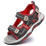DADAWEN Boys Girls Adventurous Adjustable Straps Summer Sports Sandals Hiking Beach Outdoor Open toe Sports Sandals for Kids Red US Size 4 M Big Kid