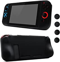 Nintendo Switch Silicone Skin Comfort Grip Case Anti-Slip Full Body Protective Case Cover for Switch Console & Joy-con [4 Thumb Stick Caps][Handles for Gaming], (Black)