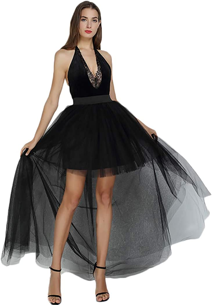 Women's Black Tulle High Low Party Bargain sale Prom Princess Occasio Special Minneapolis Mall