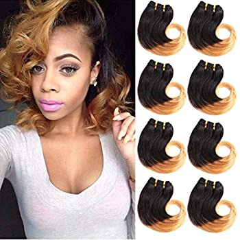 B-Fashion Unprocessed Brazilian Ombre Human Hair Bundles Cheap Two Tone Body Wave Bundles 8 inch Short Curly Remy Hair Weaves Extensions Color 1B/27 30g/Piece 8Pcs/Package Total 240g