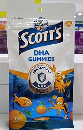 Scott's DHA Gummies,Orange Flavour, 15s ,Vitamin D,Essential for Healthy Growth & Development in Children and Healthy Immune Function.