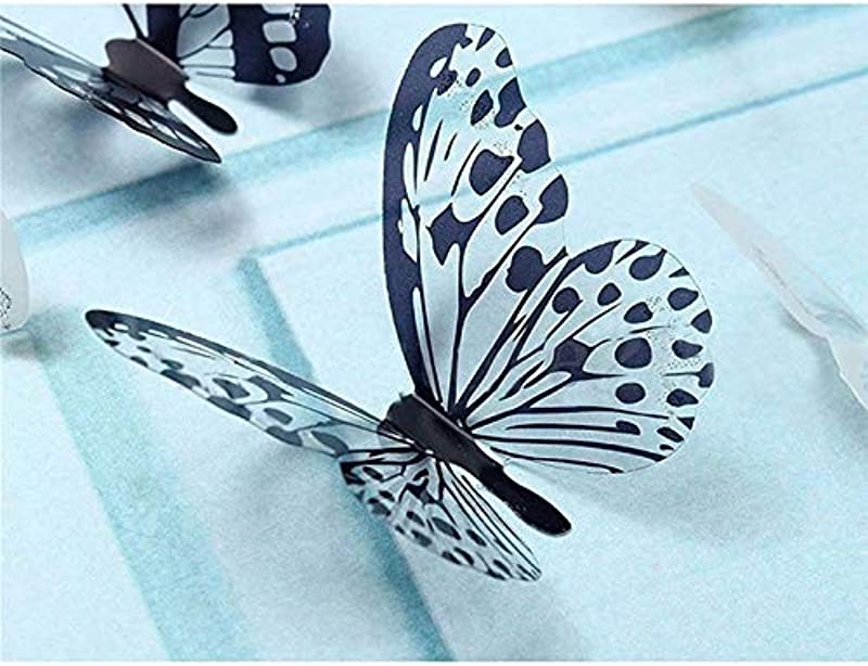 LKIX 36 Pcs 3D Black White Butterfly Sticker Art Wall Decal Mural Home Decoration Kids Rooms Party Wedding Decor Wall StickersUnited States