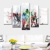 KWzEQ Anime Hero Manga Complex Movie Star Poster 5 Panel Wall Art Abstract Canvas Pintura al óleo,Pintura sin Marco,30x40cmx2, 30x60cmx2, 30x80cmx1