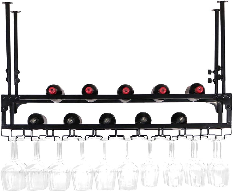 edición limitada en caliente FKWine rack 3 Capas de Hierro Colgante Colgante Colgante Estante de la Copa de Vino Estante de la decoración del Techo para Las Barras, Juego de Vino del sostenedor de Cristal Colgante (60 80 100   120cm)  venta con alto descuento